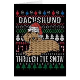 Cartão Dachshund através da camisola feia do Natal da