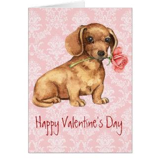 Cartão Dachshund cor-de-rosa dos namorados