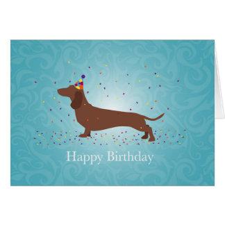 Cartão Dachshund - design do feliz aniversario