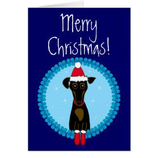 Cartão Dachshund do Feliz Natal