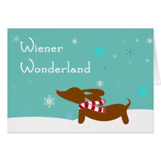 Cartão Dachshund do país das maravilhas do Wiener