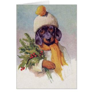 Cartão Dachshund do vintage no Natal (vazio para dentro),