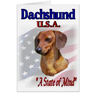 Cartão Dachshund EUA patriótico