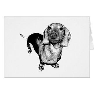 Cartão Dachsund preto e branco de intervalo mínimo Doxie