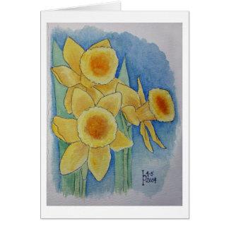 Cartão Daffodils - aguarela