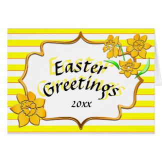 Cartão Daffodils amarelos das listras amarelas dos