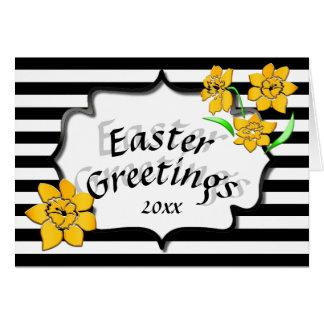 Cartão Daffodils amarelos das listras pretas dos