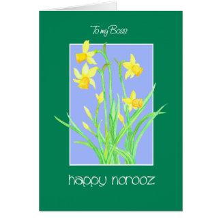 Cartão Daffodils bonito para o chefe Norooz