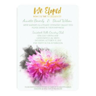 Cartão Dália cor-de-rosa nós Eloped festa de casamento do