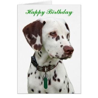 Cartão Dalmatian do feliz aniversario do filhote