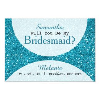 Cartão Dama de honra à moda do brilho do azul de turquesa