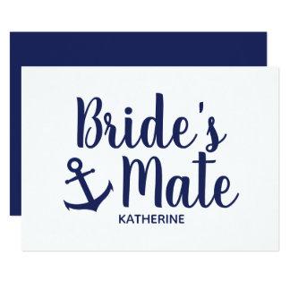 Cartão Dama de honra da âncora do companheiro da noiva