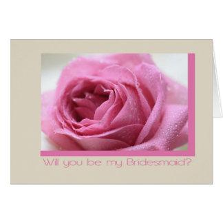Cartão dama de honra do rosa do rosa do taupe