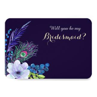 Cartão Dama de honra floral azul da pena de Boho