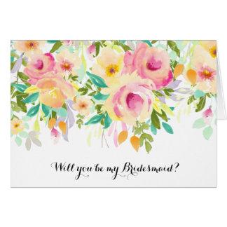 Cartão Dama de honra floral da aguarela cor-de-rosa e