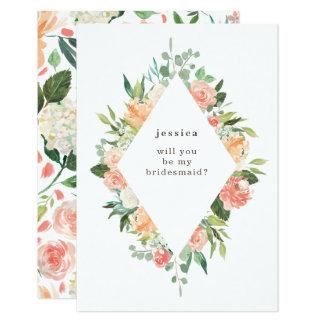 Cartão Dama de honra floral do diamante da aguarela do