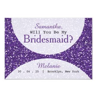 Cartão Dama de honra nupcial do partido do brilho roxo
