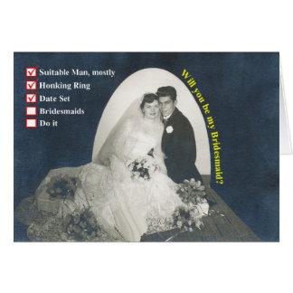 Cartão Damas de honra da lista de verificação!