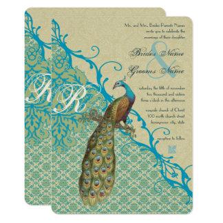 Cartão Damasco azul havaiano de Margarita dos pássaros do