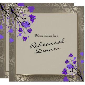 Cartão Damasco de prata floral & antigo roxo bonito