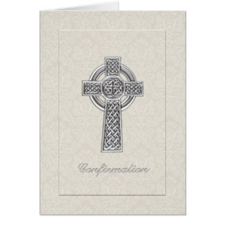 Cartão Damasco do marfim da confirmação com cruz de prata