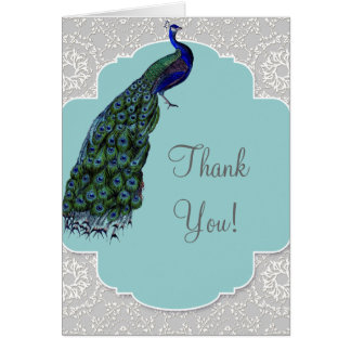 Cartão Damasco do pavão de AnnaLiese - obrigado azul você
