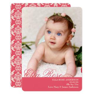 Cartão Damasco elegante, anúncios bonitos do nascimento