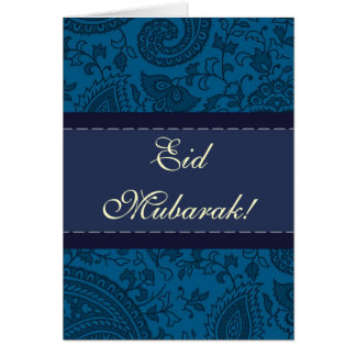 Cartão Damasco indiano azul Eid Mubarak