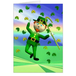 Cartão Dança afortunada do Leprechaun