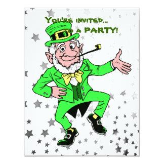 Cartão Dança bonito do Leprechaun do partido | do dia de
