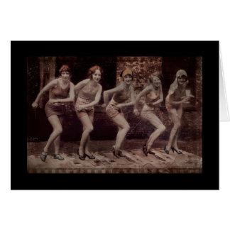 Cartão Dança Glam dos Flappers da menina