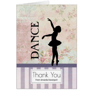 Cartão Dança - obrigado do vintage da silhueta da