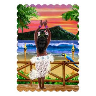 Cartão Dançarino havaiano de Hula do por do sol