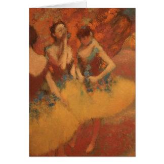Cartão Dançarinos de Edgar Degas | em saias amarelas