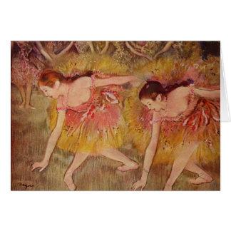 Cartão Dançarinos de Edgar Degas que dobram-se abaixo do