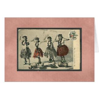 Cartão Dançarinos de Havaí Hula do vintage Cartão-Toda