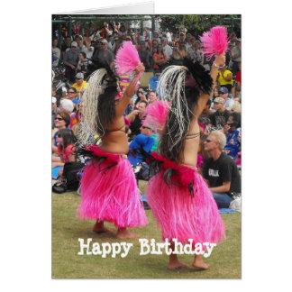 Cartão Dançarinos de Luau Hula, Maui Havaí, aniversário