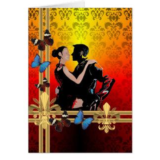 Cartão Dançarinos românticos do tango no damasco