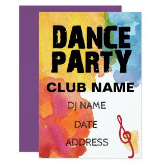 Cartão Dance party com aguarela