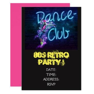 Cartão dance party retro do tema dos anos 80