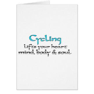 Cartão Dar um ciclo levanta seus corpo & alma da mente do