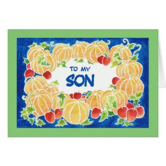 Cartão das abóboras da acção de graças para um