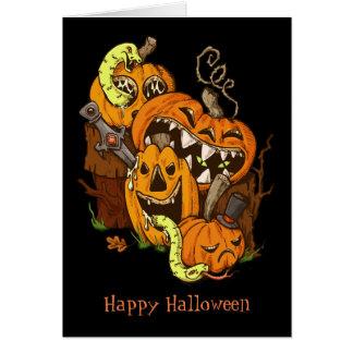 Cartão das abóboras e dos cobras do Dia das Bruxas