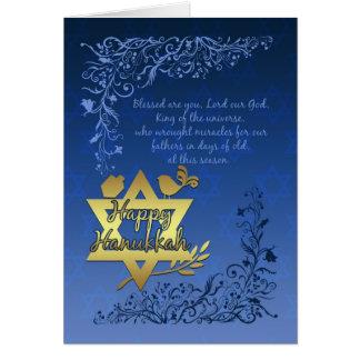 Cartão das bênçãos de Hanukkah - Hanukkah feliz
