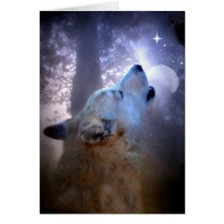Cartão das bênçãos do solstício de inverno do lobo