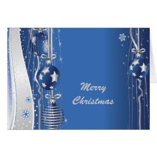 Cartão das bolas e das fitas do Natal