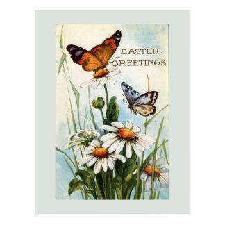 Cartão das borboletas da páscoa do vintage