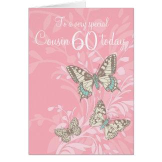 Cartão das borboletas do aniversário do primo 60th