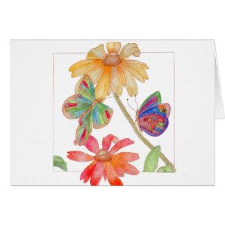 Cartão das borboletas e das flores