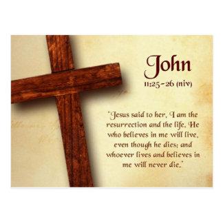 Cartão das citações da bíblia 25-26 de John 11